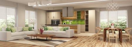 Intérieur moderne de maison de salon et d'une cuisine dans des couleurs beiges et vertes images libres de droits