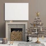 Intérieur moderne de Noël avec une cheminée décorative, Scandinav illustration de vecteur