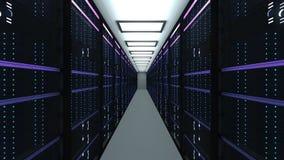 Intérieur moderne de pièce de serveur dans le datacenter, le réseau de Web et la technologie de télécommunications d'Internet, gr illustration libre de droits