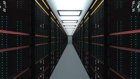 Intérieur moderne de pièce de serveur dans le datacenter, le réseau de Web et la technologie de télécommunications d'Internet, gr illustration de vecteur