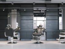 Intérieur moderne de raseur-coiffeur avec des chaises rendu 3d Photographie stock
