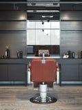 Intérieur moderne de raseur-coiffeur avec la chaise rouge rendu 3d Images libres de droits