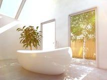 Intérieur moderne de salle de bains avec la baignoire ovale Images libres de droits