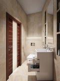 Intérieur moderne de salle de bains avec les tuiles de marbre beiges et brunes Photos stock