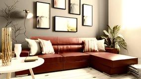 Intérieur moderne de salle de séjour illustration de vecteur