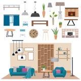 Intérieur moderne de salon avec l'illustration du bois de vecteur de meubles d'appartement de plancher Photo libre de droits