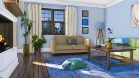 Intérieur moderne de salon avec la cheminée 3D de mur illustration stock