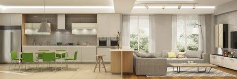 Intérieur moderne de salon avec la cuisine dans une maison ou l'appartement dans des couleurs grises avec des accents verts photo stock