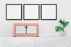 Intérieur moderne de salon avec le tableau blanc 3 sur un mur blanc illustration de vecteur