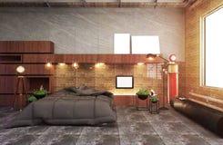 Intérieur moderne de salon de grenier avec le sofa et les plantes vertes, lampe, table sur le fond de mur de briques rendu 3d illustration stock