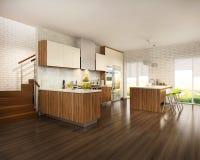 Intérieur moderne de salon uni à la cuisine blanche avec les éléments en bois dans le style scandinave photo libre de droits
