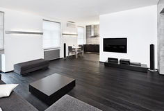 Intérieur moderne de studio de type de minimalisme Images stock