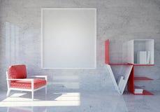 Intérieur moderne et de grenier de pièce avec des étagères à livres d'amour de mot et cadre vide de photo pour le jour du ` s de  Photos stock