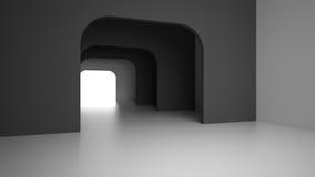 Intérieur moderne foncé vide avec la lumière lumineuse de la porte de sortie rendu 3d Photos libres de droits