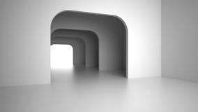 Intérieur moderne vide avec la lumière lumineuse de la porte de sortie rendu 3d Photos libres de droits