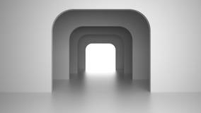 Intérieur moderne vide avec la lumière lumineuse de la porte de sortie rendu 3d Photos stock