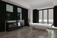 Intérieur noir et blanc moderne spacieux de salle de bains photo libre de droits