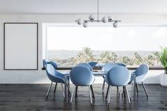 Intérieur panoramique blanc de salle à manger, affiche illustration stock