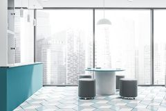 Intérieur panoramique de cuisine avec la barre et la table illustration stock