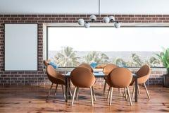 Intérieur panoramique de salle à manger de brique, affiche illustration stock