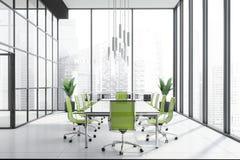 Intérieur panoramique de salle de conférence, chaises vertes illustration de vecteur