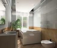 Intérieur par une salle de bains Photo libre de droits