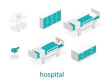 Intérieur plat isométrique de chambre d'hôpital Image libre de droits