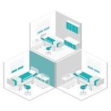 Intérieur plat isométrique de chambre d'hôpital Photographie stock libre de droits