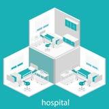 Intérieur plat isométrique de chambre d'hôpital Images stock