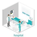 Intérieur plat isométrique de chambre d'hôpital Médecins soignant le patient Photo stock