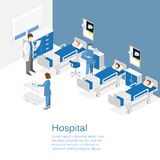 Intérieur plat isométrique de chambre d'hôpital Médecins soignant le patient Photo libre de droits
