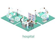 Intérieur plat isométrique de chambre d'hôpital Médecins soignant le patient Illustration 3d plate Photos libres de droits