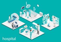 Intérieur plat isométrique de chambre d'hôpital, pharmacie, bureau du ` s de docteur, attendant, réception Images stock