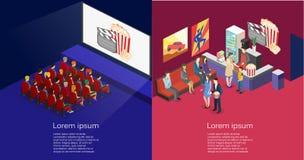 Intérieur plat isométrique du concept 3D de hall de cinéma, café Photos libres de droits