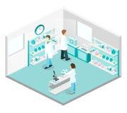 Intérieur plat isométrique du concept 3D de laboratoire de science Images stock