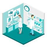 Intérieur plat isométrique du concept 3D de laboratoire de science Photographie stock libre de droits