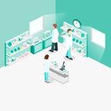 Intérieur plat isométrique du concept 3D de laboratoire de science Photos stock