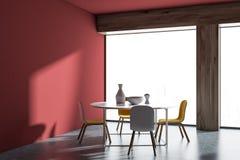 Intérieur rouge panoramique de salle à manger de Minimalistic illustration stock