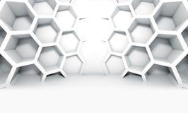 Intérieur symétrique blanc abstrait avec le nid d'abeilles Images stock