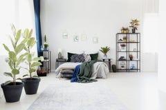 Intérieur vert et bleu de chambre à coucher Images libres de droits