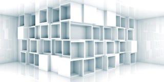 Intérieur vide abstrait de la pièce 3d avec le coffret dans le coin Image stock