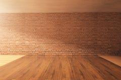 Intérieur vide avec le mur de briques Photos libres de droits