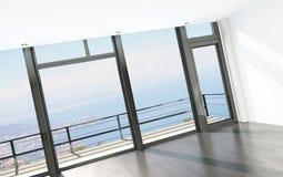 Intérieur vide de pièce avec le plancher aux fenêtres de plafond et à la vue scénique Photo stock