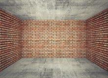 Intérieur vide de pièce avec les murs de briques rouges et le plancher en béton gris illustration stock