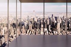 Intérieur vide moderne de bureau avec la belle vue photo stock