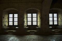 Intérieur Windows de château Photographie stock