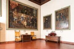 Intérieurs de forteresse Borromeo d'Angera ou de Rocca di Anger Est le château du lac Maggiore dans Angera Photo libre de droits