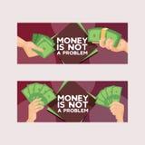 Int de geld vectorstapel van dollar of de munt binnen handen en monetair in bank die financiële zaken en financiën moneysaving stock illustratie