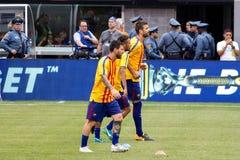 2017 Int ` l冠军杯巴塞罗那足球俱乐部对尤文图斯队 库存照片
