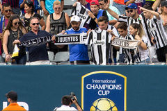 2017 Int`l Champions Cup- FC Barcelona vs Juventus. Exhibition Soccer: The 2017 ICC contest pits Spanish La Liga powerhouse FC Barcelona vs Italian Serie A royalty free stock image
